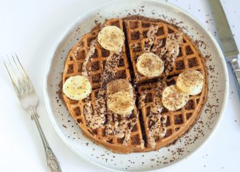 vegan chocolate cherry protein waffles