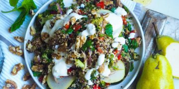 roasted eggplant and quinoa salad