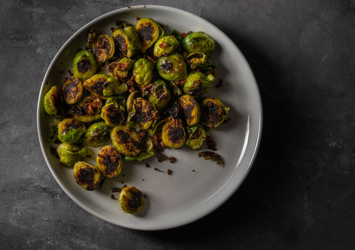 Brussel sprouts with veef bacon bits